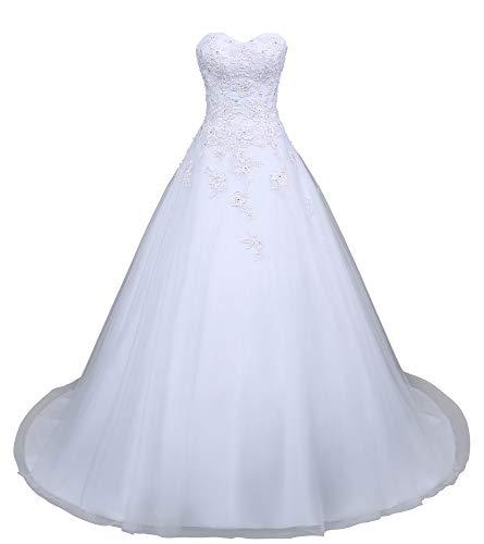Romantic-Fashion Brautkleid Hochzeitskleid Weiß Modell W049 A-Linie Satin Perlen Pailletten Applikationen DE Größe 38
