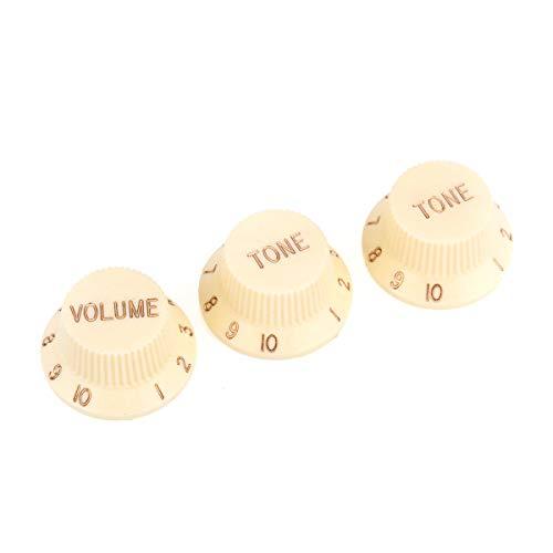 Musiclily Pro Imperial Pulgadas Tamaño Botones de Potenciómetros 2 Tono 1 Volumen Perillas Set para Guitarra Eléctrica USA Strat Style, Crema