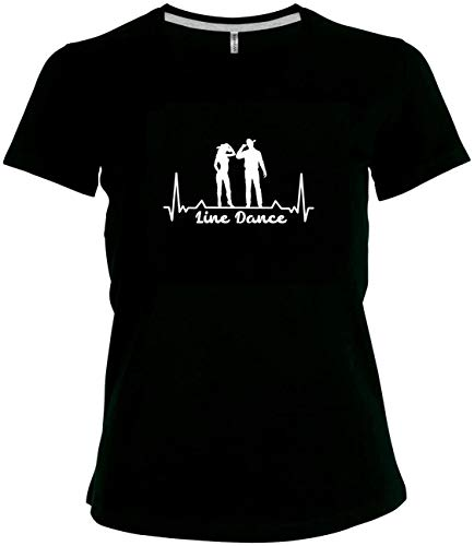 BlingelingShirts Elegantes Shirt Damen Line Dance Herzschlag Tanzpaar Westernshirt, schwarz Druck Weiss, Gr. 52/54