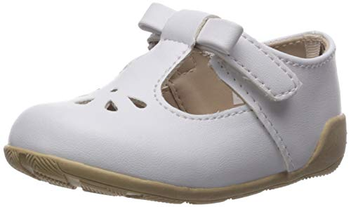 Baby Deer Girls' Mary Jane T Strap Flat, White, 6 Child US Toddler