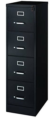"Office Dimensions Commercial 4 Drawer Letter Width Vertical File Cabinet, 22"" Deep - Black"