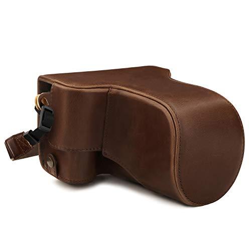 MegaGear MG1760 Ever Ready Leder Kameratasche mit Trageriemen kompatibel mit Canon EOS M6 Mark II (18-150mm) - Hellbraun