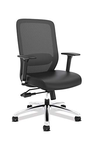 HON Exposure Mesh Task Chair - Mesh High-Back Computer Chair with Leather Seat for Office Desk, Black (HVL721)