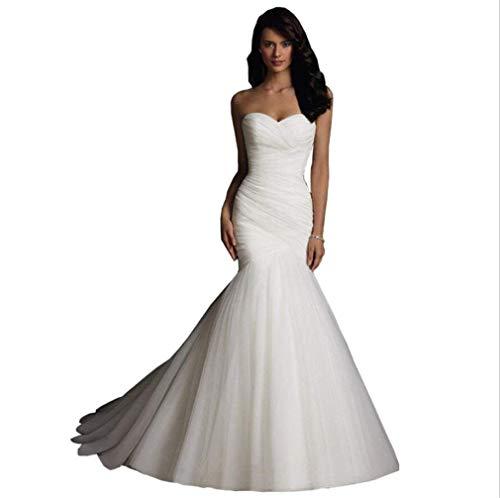 Frauen, Figurbetontes Brautkleid Elegante Schulter Ärmellos Meerjungfrau Design A-Line Rock,White,XXL