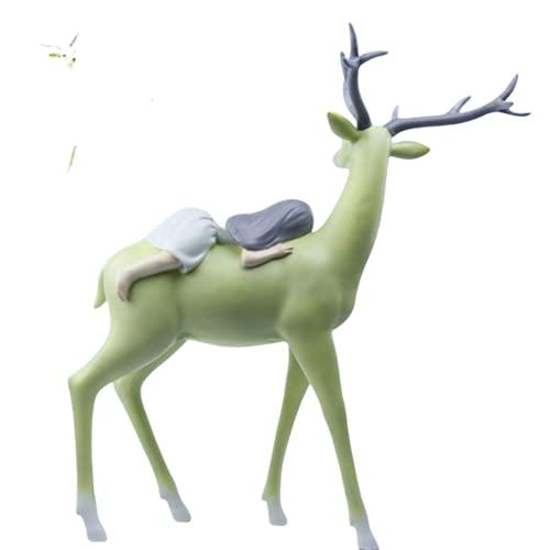 zhongzhichengcheng Statues Sculptures Deer Figurine Statues Reindeer Sculptures Home Decor Ornaments Outdoor Craft