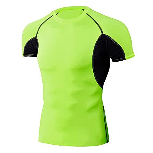 Shirt Compresión Hombres Verano Cuello Redondo Empalme Manga Corta Hombres Shirt Transpirable Básica Elástica Hombres Shirt Correr Deportiva Que Absorbe Hombres Shirt Músculos H-Green 2 L