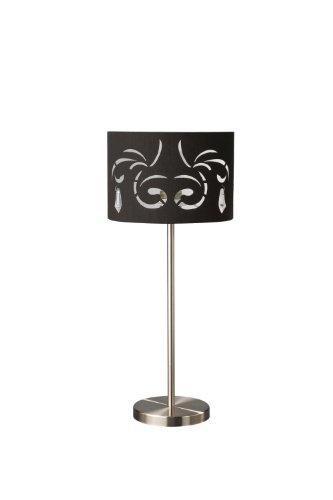 Massieve tafellamp - tafellampen (Ambience, AC, E27, zwart, chroom, stof, glas, metaal, Bedroom, Living Room)