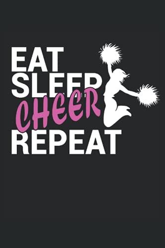 """Eat Sleep Cheer Repeat: Cuaderno   Cuadriculado   A cuadros (6 """"x9"""" (15,24 x 22,86 cm)), 120 páginas, papel crema, cubierta mate"""