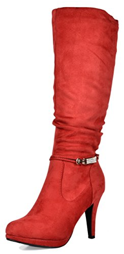 DREAM PAIRS Women's Red Platform High Heel Knee High Boots Size 7.5 M US Sarah-mid