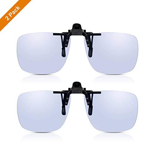 2er PACK Read Optics Anti Blaulicht Clip-On Computer Über-Brille: Ungetönte klare Gläser, TAC polarisiert, UV400 Filter. Für PC, Handy, Gaming. Reduziert Belastung der Augen, Müdigkeit, Kopfschmerzen