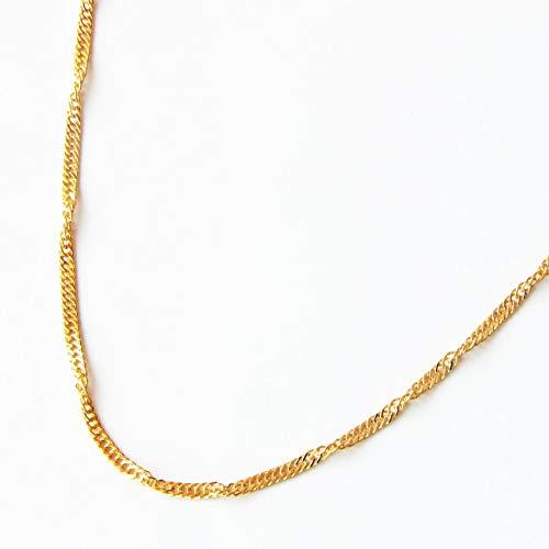 純金(24金) ネックレス スクリュー チェーン 45cm 約3g K24 (K18) スクリュー K24YG 日本製 (国産) 刻印入り