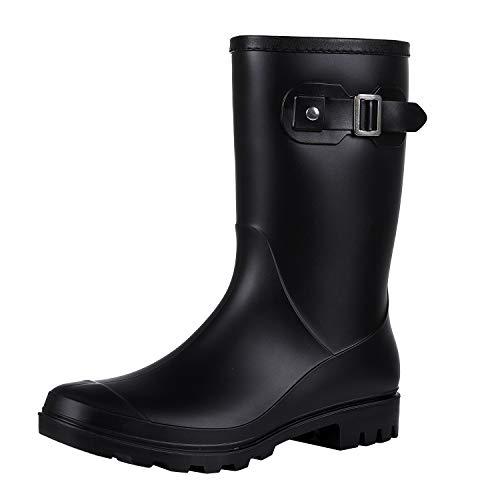 Evshine Women's Mid Calf Rain Boots Waterproof Garden Shoes Matte Black 40