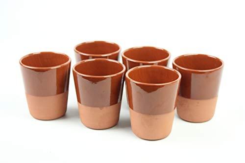 6 VASOS 1/5 de barro 250 ml .Medidas 10cm alto x 7,5cm diámetro. CONJUNTO DE 6 VASOS