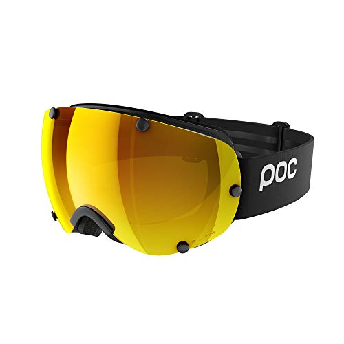 POC, Lobes Clarity Goggles for Skiing and Snowboarding with Extra Lens, Uranium Black/Spektris Orange