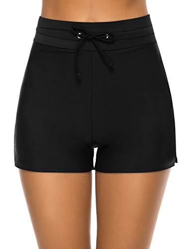 Tournesol Women's Swimsuit Bottoms Tummy Control Swim Shorts High Waist Board Shorts Tankini Boy Shorts Black
