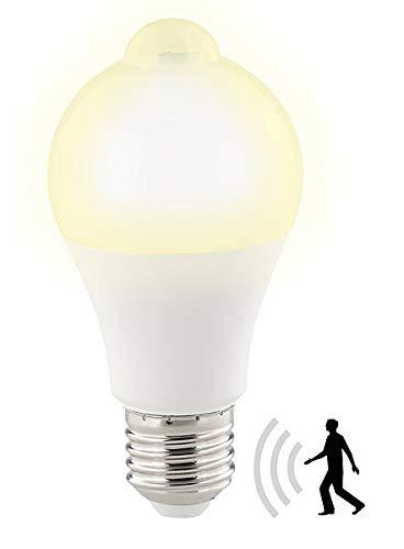 Luminea Bewegungsmelder Lampe: LED-Lampe, PIR-Sensor, 12 W, E27, warmweiß, 3000 K, 1.055 Lumen (LED Lampen mit Bewegungsmelder)
