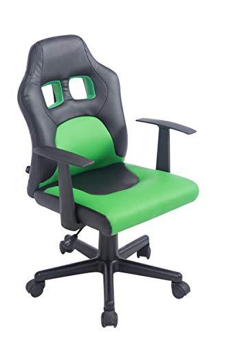 CLP Kinder-Bürostuhl Fun mit Kunstlederbezug | Schreibtischstuhl mit abnehmbaren Armlehnen | Drehstuhl für Mädchen und Jungen erhältlich schwarz/grün