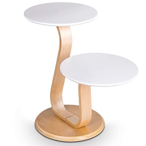 DREAMADE Beistelltisch aus Holz, Runder Couchtisch mit 2 Tischplatten, Sofatisch in Stromlinienform, Mondern-Stil Kaffeetisch Lackiert, für Wohnzimmer Balkon Büro
