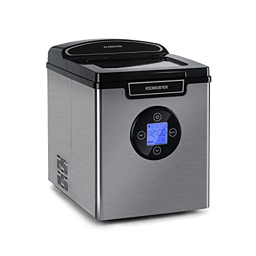 Klarstein Icemeister 2G - Máquina de cubitos de hielo, Hasta 12 kg / 24h, 3 tamaños de cubitos,...