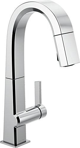 Delta Faucet Pivotal Single-Handle Bar-Prep Kitchen Sink Faucet with Pull Down Sprayer and Magnetic Docking Spray Head, Chrome 9993-DST