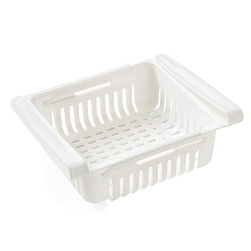 FAMOORE kühlschrank Schubladen, Kühlschrank-Organizer, verstellbare Kühlschrank-Schublade, Kühlschrank Aufbewahrungsbox, Organizer Ausziehbare Kühlschrank Regal Halter (White, 1)