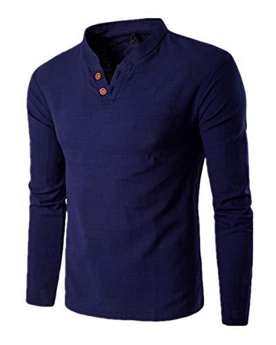 MODCHOK Uomo Maglie a Manica Lunga Henley T-shirt Polo Canotte Colore Solido Casual Marina Militare S