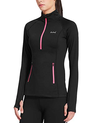 BALEAF Damen Warme 1/2 Zip Laufshirt Langarm Thermo Fleece Top Shirt Schwarz XL