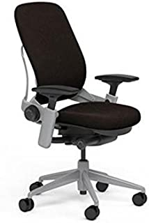Steelcase Leap Desk Chair in Buzz2 Chocolate Fabric - Highly Adjustable Arms - Platinum Frame and Base - Standard Carpet Casters