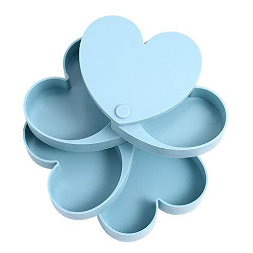 JYDQM Caja de Almacenamiento de Joyas de Cuatro Capas en Forma de corazón en Forma de corazón, Accesorios para el Cabello Caja de Almacenamiento de la joyería de la Mano de la Mano