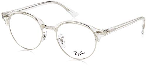 RX4246V Clubround Eyeglass Frames, White Transparent/Demo Lens, 47 mm