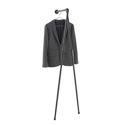 Kleiderständer 60 x 160 cm, stabile Garderobe, schwarz aus Stahlrohr, Kleiderstange Industrial Design, Standgarderobe