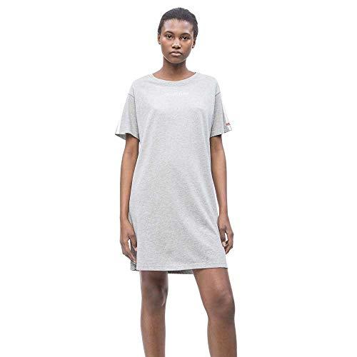 Calvin Klein Damen S/S NIGHTSHIRT-000QS6196E Nachthemd, Grau (Grey Heather 020), Large (Herstellergröße: L)