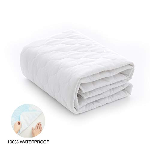 EXQ Home Waterproof Pad,Machine Washable Pee Pads for Kids,Slip-Resistant Crib Mattress Protector Pad,White Bed Large Changing Pad Cover,100% Waterproof Pads for Baby Toddler 34'x 36'