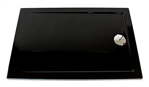 Art-of-Baan® - Superflache Duschwanne Duschtasse schwarz 120 x 80 Komplettes Set reines Acryl Hochglanz kratzfest und rutschfest weiß Höhe 3,5 cm inkl. Ablaufgarnitur