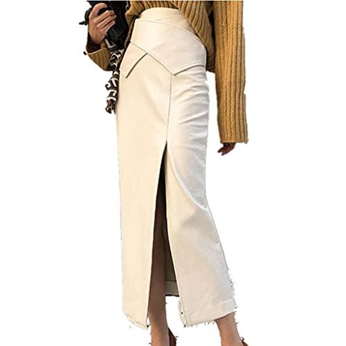 DIAOD Falda de cuero de moda de otoño para mujer, cintura alta, elegante, para oficina, para mujer, paquete medio dividido, cadera delgada (Color : Beige, Size : S code)
