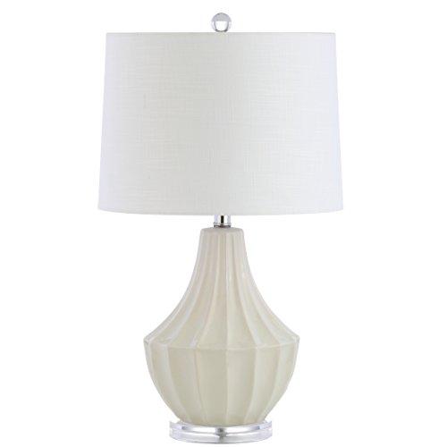 JONATHAN Y JYL8018C Tate 24' lámpara LED de cerámica contemporánea, transición para recámara, salón, oficina, recámara universitario, mesa de centro, estantería, color crema