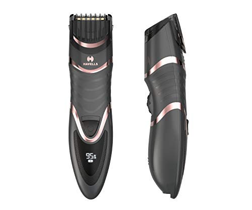 Havells BT9010 Digital Display Beard & Moustache Trimmer, Fast Charge allows 30 + trims, 19 Built-in Precise Lengths (Rose Gold)