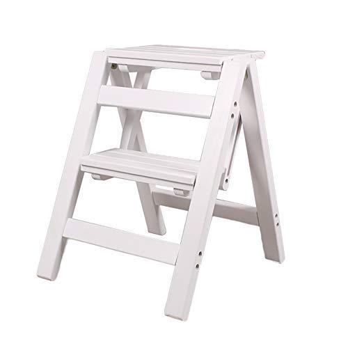 Stool Ladder- Chaise pliante multifonctionnelle de hauteur en bois massif de deux étages en bois massif de haute qualité (Couleur : Blanc)