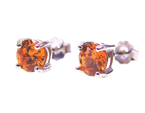 093 6mm Damesoorstekers Wit Goud verguld 925 Sterling Zilver, Oranje Diamant, Oorbel Stud met Geschenkdoos, Mannen Vrouwen