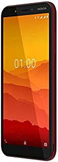 """NOKIA C1 Android Smartphone, 1GB RAM, 16 GB Memory, 5.45"""" FWVGA+, Google Assistant Button - Red"""