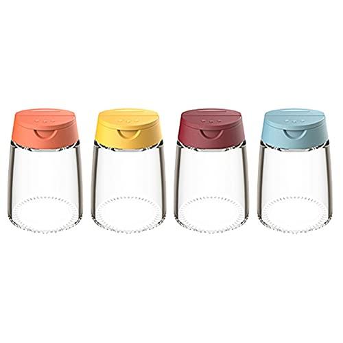 4 paquetes de utensilios de cocina con doble tapa para especias, tarros de cristal