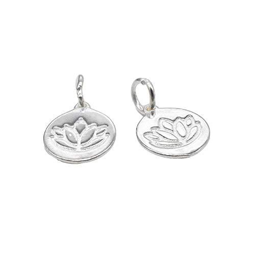 5 abalorios de loto de plata de ley de 11 mm, disco de loto, loto brillante, plata 925, abalorios de yoga, abalorios de meditación