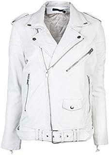 LE CRAZE New Men's Lambskin Leather Jacket Biker Motorcycle Slim Fit Belt Jacket