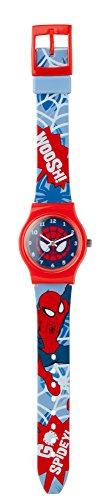 Spiderman SPM73 Montre à quartz pour garçon dotée d'un cadran à affichage analogique multicolore et d'un bracelet en plastique multicolore