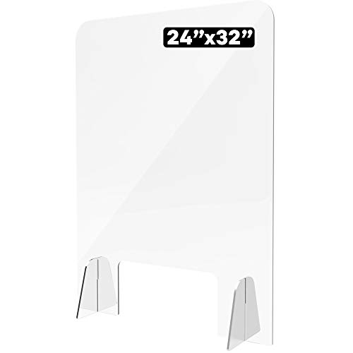 Shield Geek Sneeze Guard for Counter - Freestanding Plexiglass Shield with Larger Opening at the Bottom - Crystal Clear Acrylic - for Business, Cashier Counters, Restaurants, and Nail Salon -24' x 32'