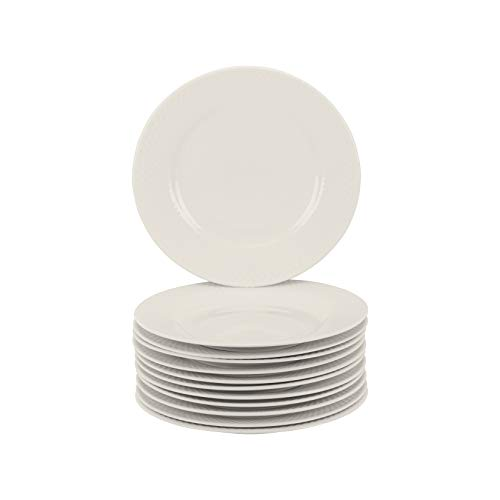 """10 Strawberry Street Basket Weave 8"""" Catering Set of 12 Salad Plates, Cream White"""