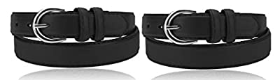 "2 Pack Women's Casual Solid Colors Faux Leather 1"" Belt with Single Prong Buckle (Black & Black, X-Large)"