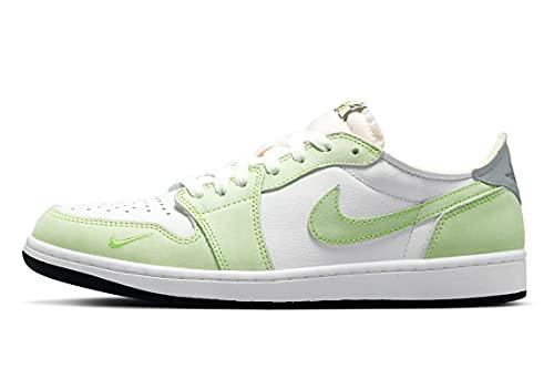 Jordan Uomo 1 Basso OG Ghost Verde Bianco/Nero-Ghost Verde (DM7837 103) -, Bianco/Verde fantasma-nero, 45.5 EU