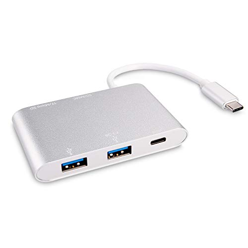kwmobile Aluminum USB Hub 3.1 Type-C - USB 3.0 port with SD Micro SD TF Card Reader Type C charging connector - USB-C SD Reader Hub - Adapter with PD