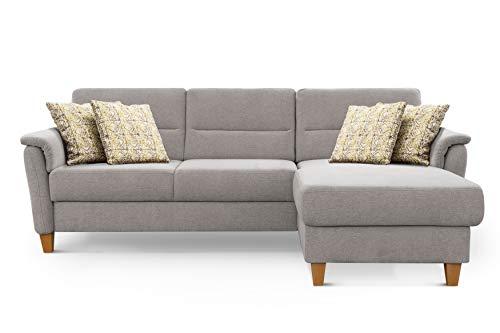 CAVADORE Ecksofa Palera / Federkern-Sofa in L-Form im Landhausstil / 244 x 89 x 163 / Chenille-Bezug, Hellgrau